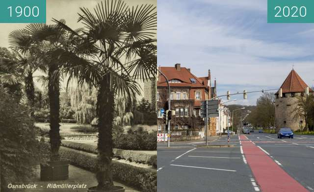Before-and-after picture of Rißmüllerplatz between 1900 and 03/2020