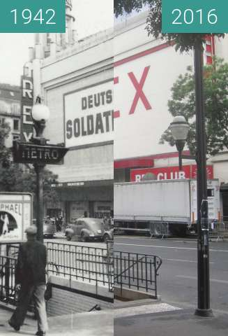 Before-and-after picture of Le Grand Rex (Occupation of Paris) between 1942 and 2016-Sep-25