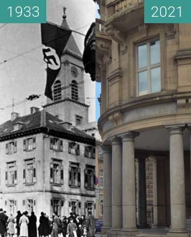 Before-and-after picture of Karlsruhe, Polizeipräsidium between 1933-Mar-06 and 2021-Sep-09