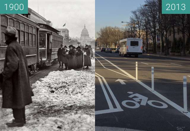 Before-and-after picture of Pennsylvania Avenue, Washington, D.C. and Capitol between 1900 and 2013-Dec-26