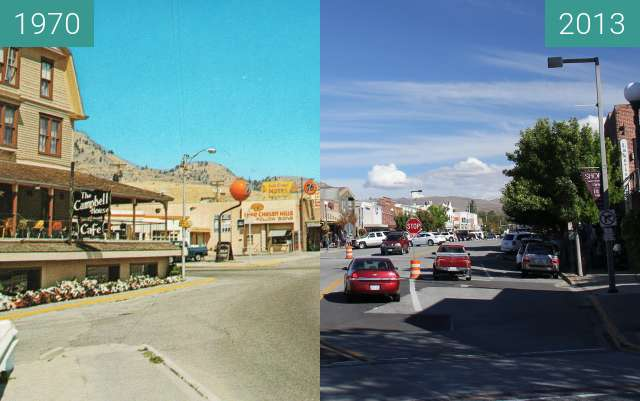 Before-and-after picture of Woodin Avenue, Chelan, Washington between 1970 and 2013-Sep-21