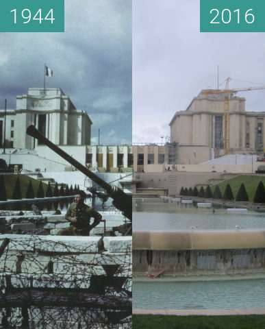 Before-and-after picture of Palais Chaillot between 09/1944 and 2016-Feb-21