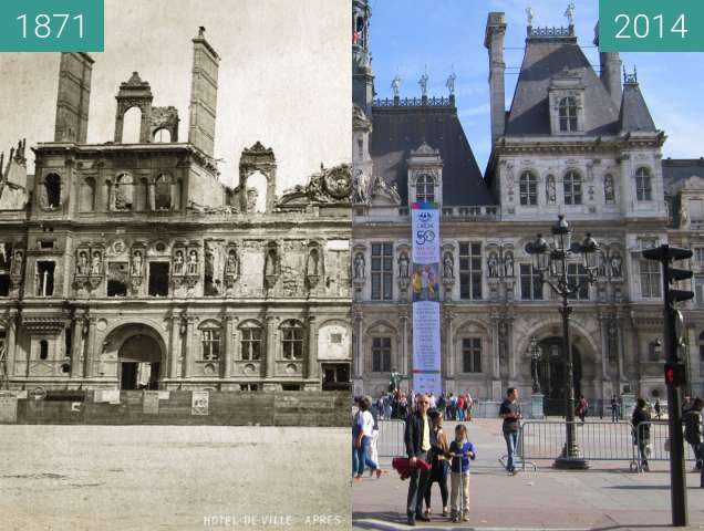 Before-and-after picture of Hôtel de Ville between 1871 and 2014-Sep-28