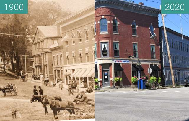 Before-and-after picture of The Haraden Block Belfast, Maine between 1900-Sep-03 and 2020-Sep-04