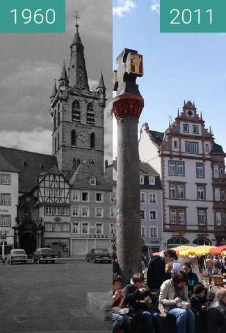 Before-and-after picture of Trier - Marktplatz 1960/2011 between 1960 and 04/2011