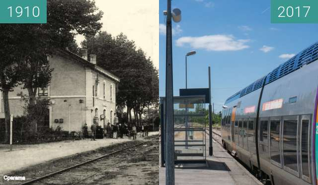 Before-and-after picture of Gleise des Bahnhofs in L'Isle Jourdain between 1910 and 2017-Jun-07