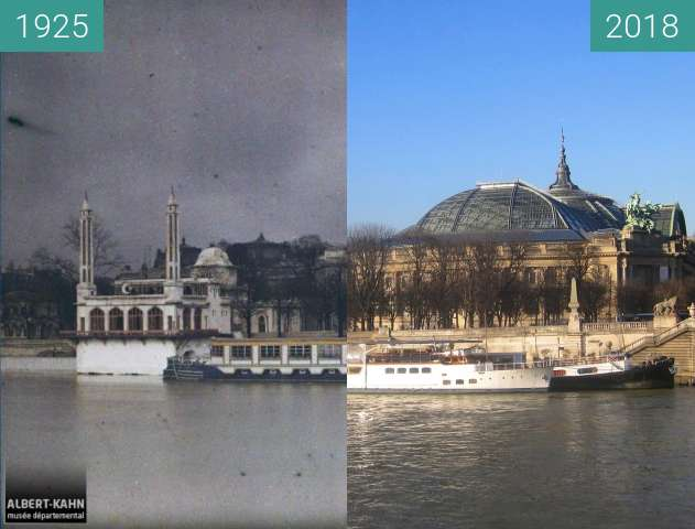 Before-and-after picture of Port des Champs-Elysées between 1925-Nov-24 and 2018-Feb-18