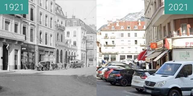 Before-and-after picture of Grenoble | Place de l'Etoile (1921) between 1921 and 2021