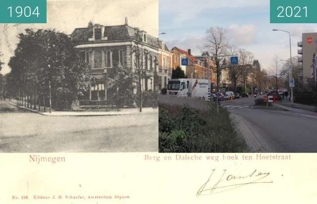 Before-and-after picture of Berg en Dalseweg 1904 between 1904 and 2021-Jan-22