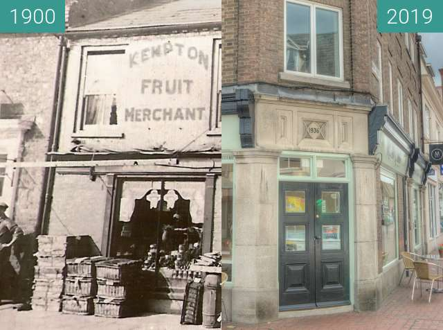 Before-and-after picture of Kempton Fruit Merchant between 1900 and 2019-Jun-20