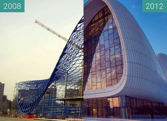 Before-and-after picture of Heydar Aliyev Center between 2008 and 2012