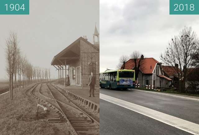 Before-and-after picture of Tram station Schermerhorn between 1904 and 2018-Dec-17