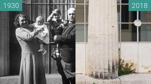 Before-and-after picture of Mussolini and family at Villa Torlonia between 1930-Apr-23 and 2018-Feb-17
