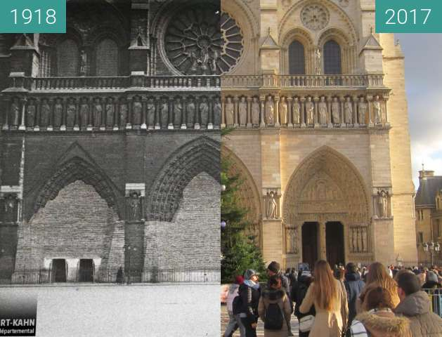 Before-and-after picture of Notre-Dame between 1918-May-02 and 2017-Dec-16