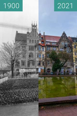 Before-and-after picture of Atelier Fritz Möller. between 1900 and 2021-Jan-05