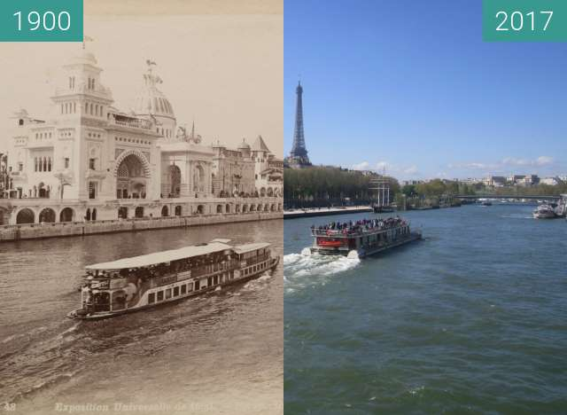 Before-and-after picture of Palais des Nations between 1900 and 2017-Apr-02