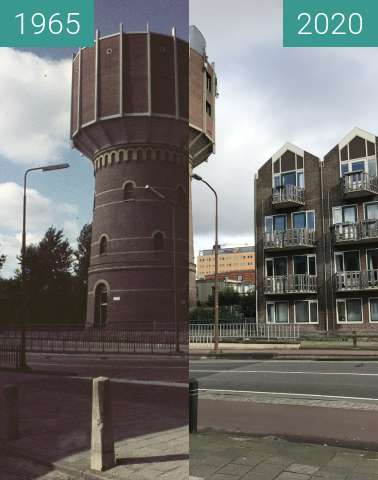 Before-and-after picture of Water tower Alkmaar 1965 - 2020 between 1965 and 2020-Feb-25