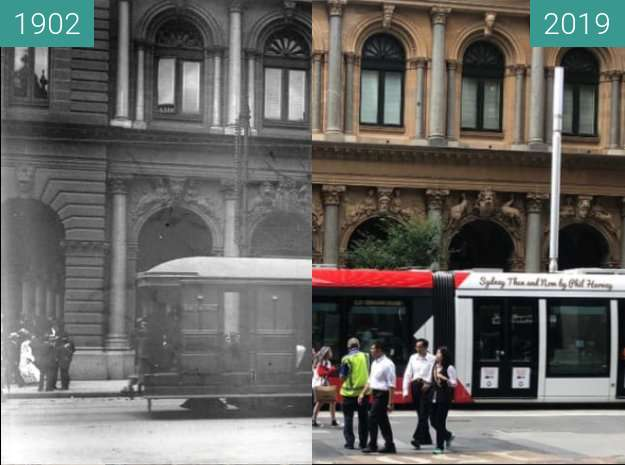 Before-and-after picture of George Street at the GPO between 1902 and 2019