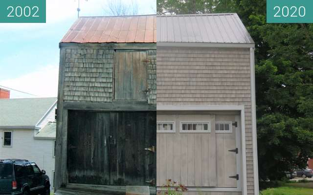 Before-and-after picture of Belfast Museum Barn Belfast, Maine between 2002-Jul-21 and 2020-Jul-21