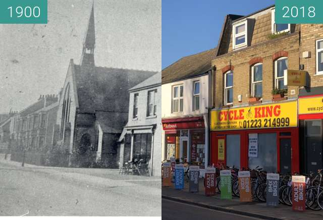 Before-and-after picture of St Philip's Church and shops between 1900 and 2018-Jan-07