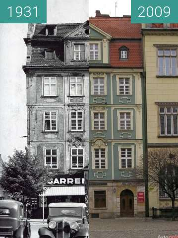 Before-and-after picture of Palaces in Wroclaw's Rynek between 1931 and 2009