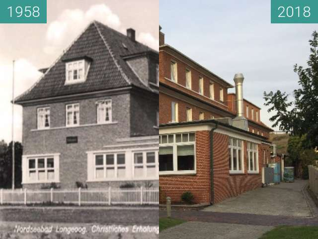 Before-and-after picture of Haus Bethanien between 1958 and 2018-Sep-26