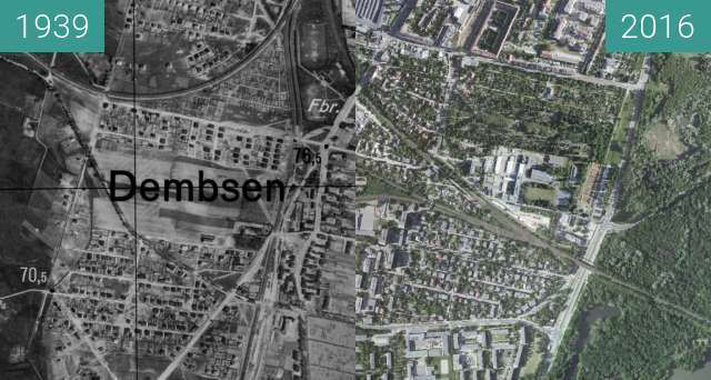 Before-and-after picture of Dębiec between 1939 and 2016