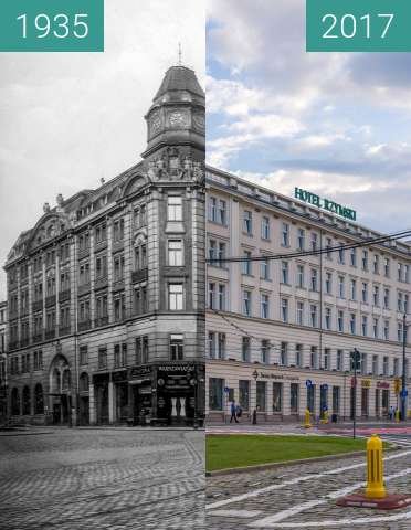 Before-and-after picture of Aleje Marcinkowskiego, Hotel Rzymski between 1935 and 2017-Jul-08