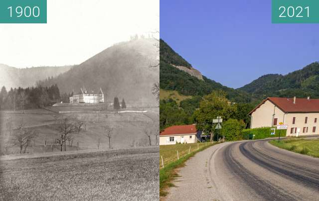 Before-and-after picture of Le Château depuis la route départementale between 1900 and 2021-Aug-31