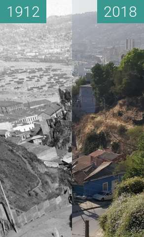 Before-and-after picture of Calle Orompello between 1912 and 2018-Dec-15