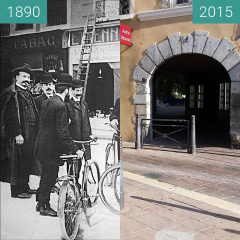Before-and-after picture of Grenoble | Rue Montorge (1890) between 1890 and 2015