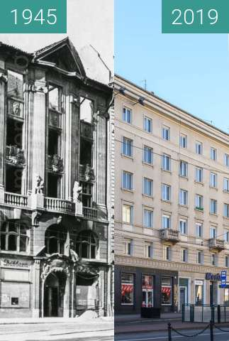Before-and-after picture of Plac Wolności nr 9, 10 between 1945 and 2019-Feb-16