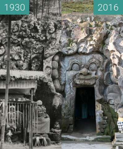 Before-and-after picture of Cremation Scene at Goa Gajah between 1930 and 2016-Jun-09