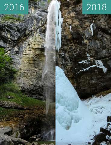 Before-and-after picture of Wasserfall Schoßrinn oberhalb von Aschau between 2016-May-27 and 2018-Mar-04