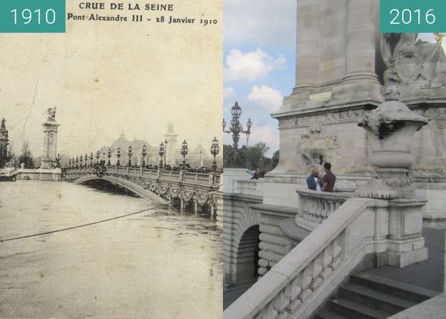 Before-and-after picture of Pont Alexandre III (Great Flood) between 1910-Jan-28 and 2016-Sep-23