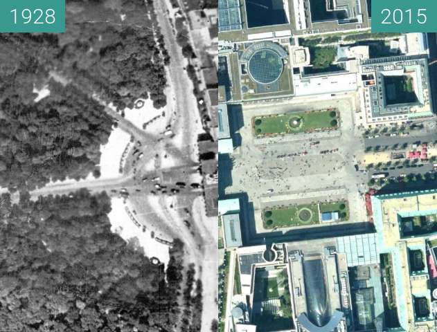 Before-and-after picture of Bereich um das Brandenburger Tor 1928 und 2015 between 1928 and 2015