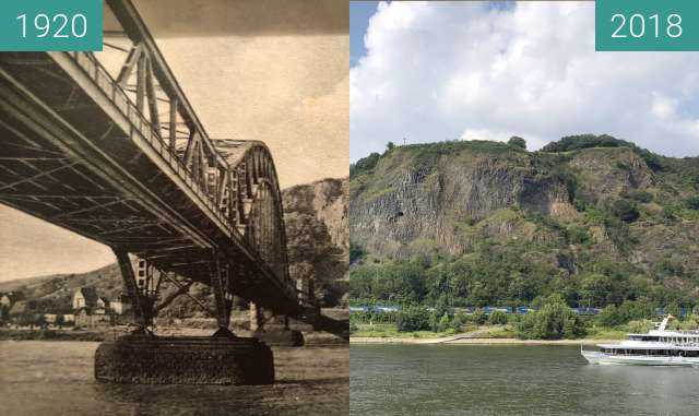 Before-and-after picture of Ludendorff-Brücke between 1920 and 2018-Jul-12