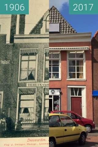 Before-and-after picture of Noordvliet Leeuwarden between 1906 and 2017-Jul-12