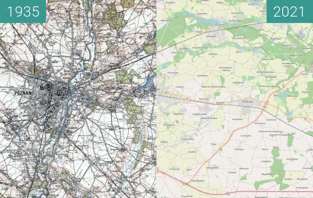 Before-and-after picture of Poznań i okolice 1935 vs OSM between 1935 and 2021-May-02