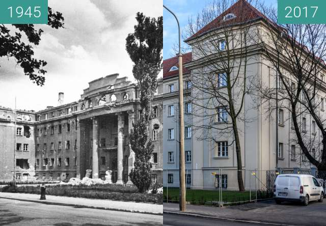 Before-and-after picture of Aleja Niepodległości, Dom Studencki Hanka between 1945 and 2017