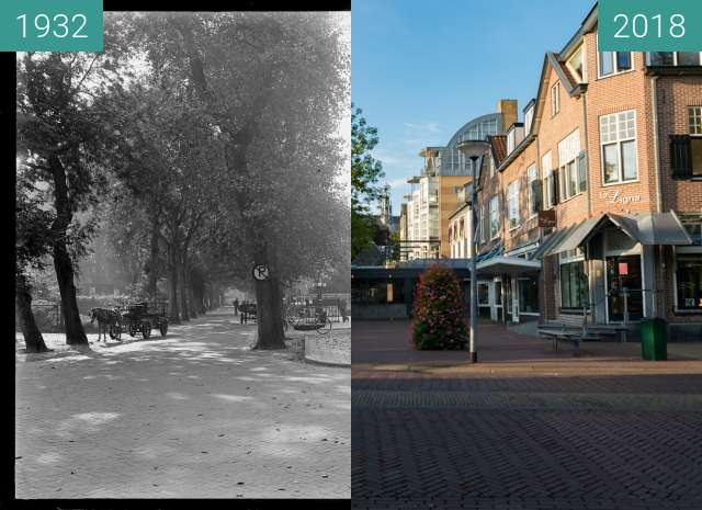 Before-and-after picture of Village center of Bergen (North Holland) between 1932 and 2018-Aug-15