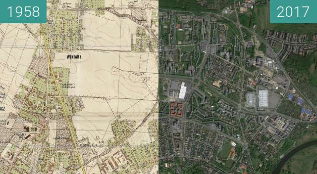 Before-and-after picture of Poznań 1958 - Winiary, Winogrady between 1958 and 2017-May-12