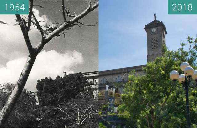 Before-and-after picture of Christ the King Cathedral in Nha Trang between 1954 and 2018-May-13