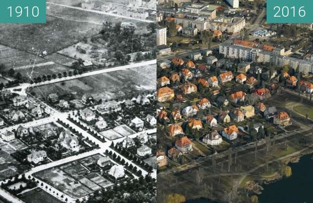 Before-and-after picture of Sołacz, Poznań between 1910 and 2016