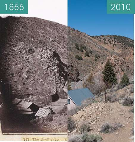 Before-and-after picture of The Devil's Gate between 1866 and 2010