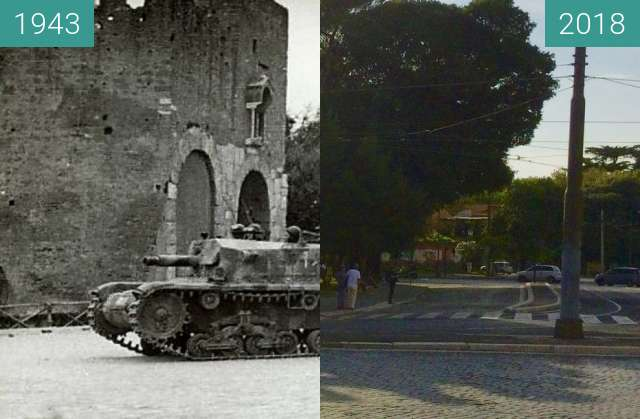 Before-and-after picture of The Battle of Porta San Paolo, Rome, 10 September between 1943-Sep-10 and 2018-Sep-06