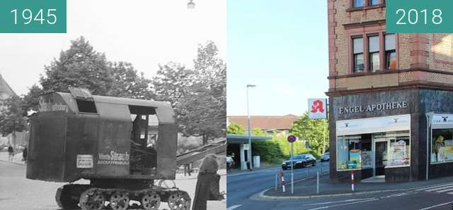 Before-and-after picture of Aschaffenburg - Engel Apotheke between 1945 and 2018