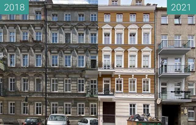 Before-and-after picture of Rebuilding of a Palace in Wroclaw (pt 4) between 2018 and 2021