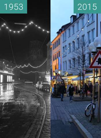 Before-and-after picture of Johannisstraße in der Weihnachtszeit between 1953 and 2015-Dec-12