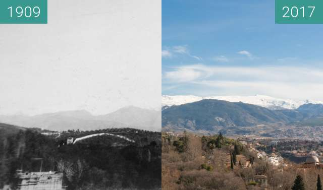 Before-and-after picture of View from the Torre de la Vela in the Alhambra between 1909 and 2017-Jan-31